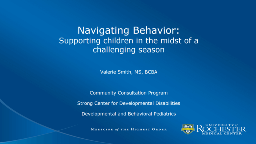 Navigating Your Child's Behaviors: Supporting Kids through Challenging Seasons (Powerpoint)